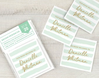 mint and gold custom bookplate stickers, personalized bookplates, mint book labels, book club gift, book lover gift, hostess gift, set of 20