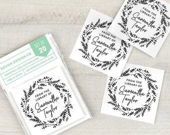 Personalized book labels, bookplate stickers, set of 20, book club gift, gift for book lovers, gift for teacher