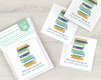 personalized book labels, custom bookplate stickers, set of 20, book club gift, gift for book lover, gift for teacher