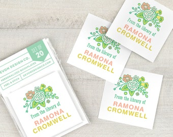 personalized book labels, floral bookplate stickers, custom bookplates, set of 20, book club gift, gift for book lover, gift for teacher
