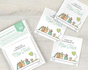 personalized teacher bookplates, custom bookplate stickers, classroom book labels, set of 20, teacher gift, teacher organization,