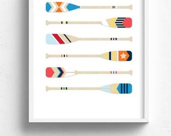 nautical art print, coastal wall art, boat paddle print, boat paddle art, coastal decor, painted oars wall art