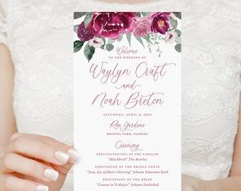 Magenta floral wedding program, fuchsia wedding ceremony programs, order of events, printed ceremony programs, wedding day stationery