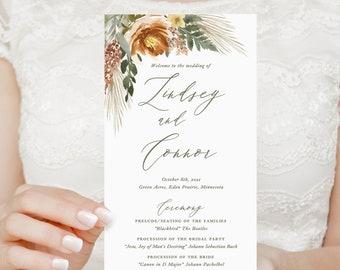 boho pampas grass wedding programs, printed programs for bohemian desert wedding, fall ceremony program with burnt orange and sage green