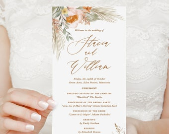 boho earth tone wedding programs, printed ceremony programs, programs for bohemian desert wedding with sage, terracotta and pampas grass