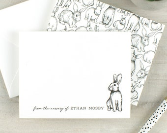 New baby notecards, newborn stationery, bunny notecards, baby shower thank you cards, new baby gift, personalized new mom gift, notecard set