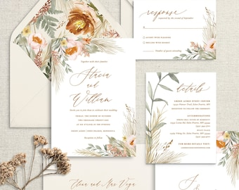 Sage and Terracotta boho pampas grass wedding invitations, for bohemian wedding with muted earthy colors, printed invitation set