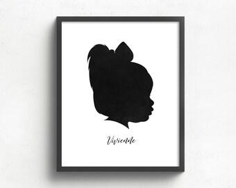 custom silhouette portrait, gift for mom, gift for her, grandparents gift, custom family art, family keepsake, mothers day gift
