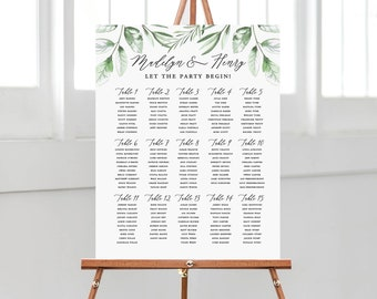 printed wedding seating chart with greenery, wedding table seating sign mounted on foam core,  accented with botanical foliage