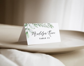 printed wedding place cards with greenery, wedding name cards, wedding escort cards with watercolor foliage, botanical folded seating cards