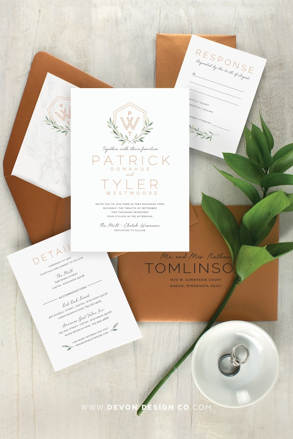 Copper Wedding Invite Modern Save-the-Date Industrial Geometric Wedding White Ink on Copper Metallic Paper Invitation Save the Date