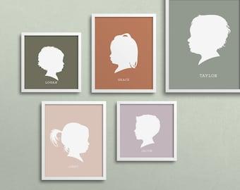 modern silhouette portrait, mothers day gift, custom silhouette portrait, child silhouette print, gift for mom, unframed keepsake print