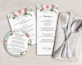 printed blush floral wedding menus, pink watercolor floral wedding menus, dinner menus with pink dahlia, dusty rose florals and greenery