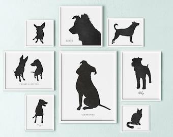 custom dog silhouette portrait, dog lovers gift, gift for dad, personalized dog art, pet keepsake, gift for dog lover, pet memorial gift