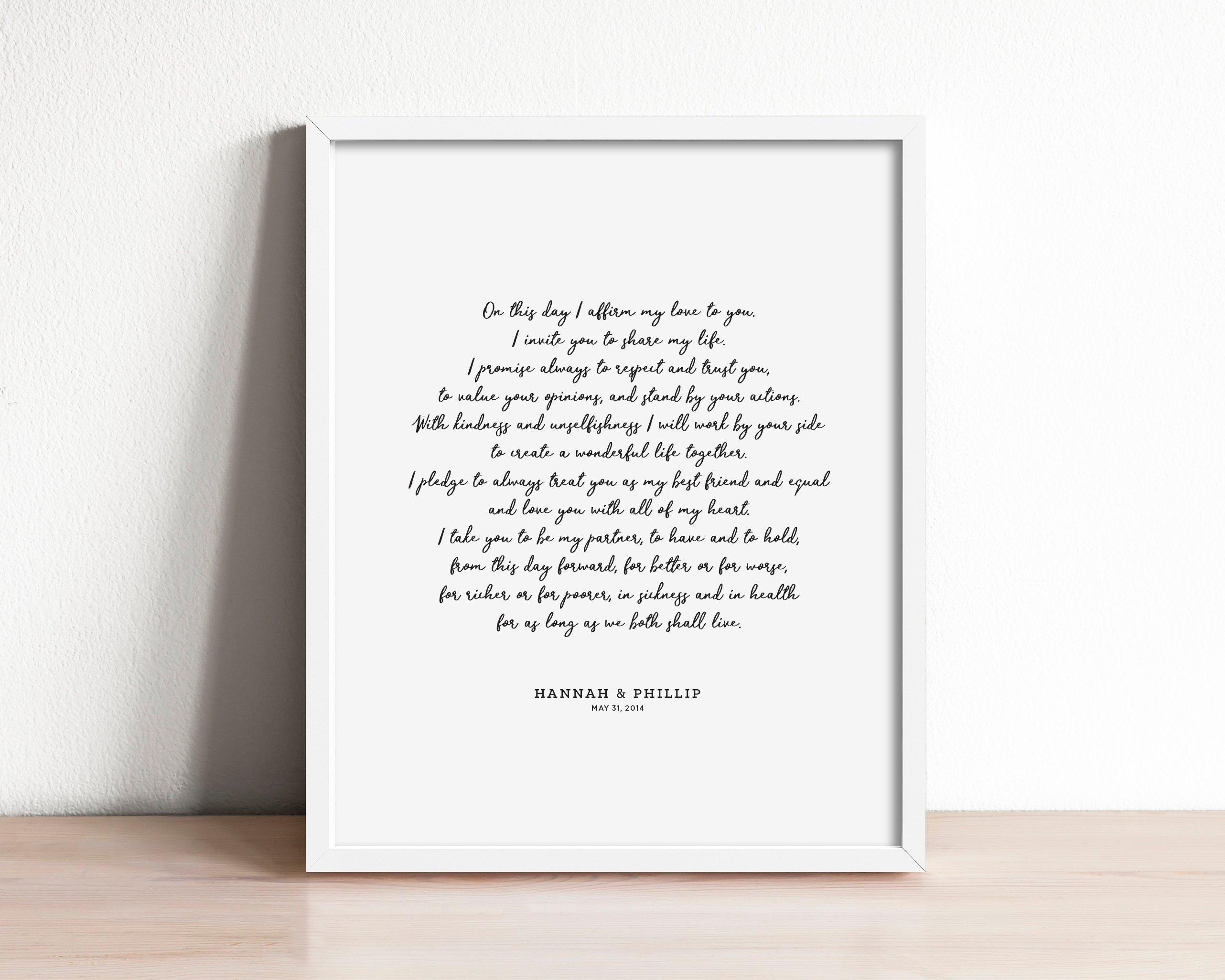 Wedding Vows Gift: Marriage Vow Print Wedding Keepsake Art First Anniversary