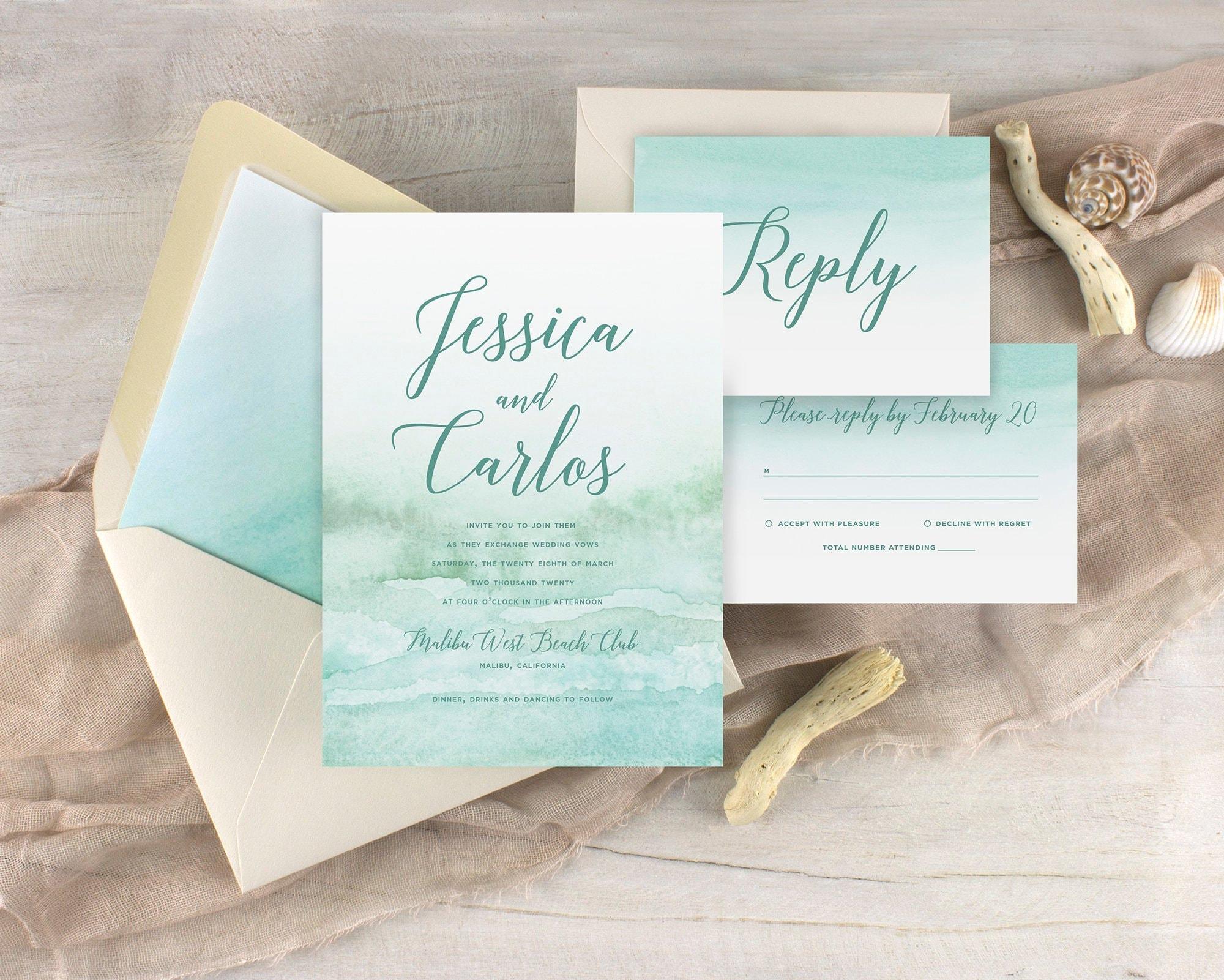 Destination Wedding Invitations Etsy: Beach Wedding Invitations Destination Wedding Invitations