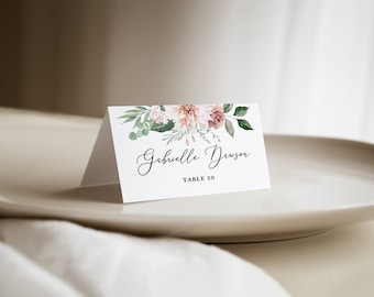 printed blush floral wedding place cards, wedding name cards, folded escort cards with watercolor florals in blush pink and dusty rose