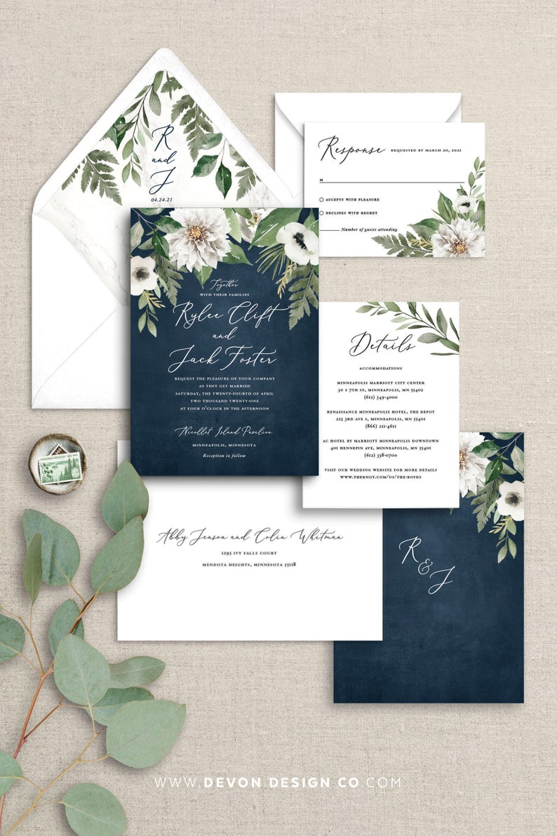Navy and white floral wedding invitations navy blue wedding image 0