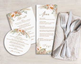 printed boho pampas grass wedding menus, autumn desert wedding menus, dinner menus with sage and terracotta and neutral earthtones