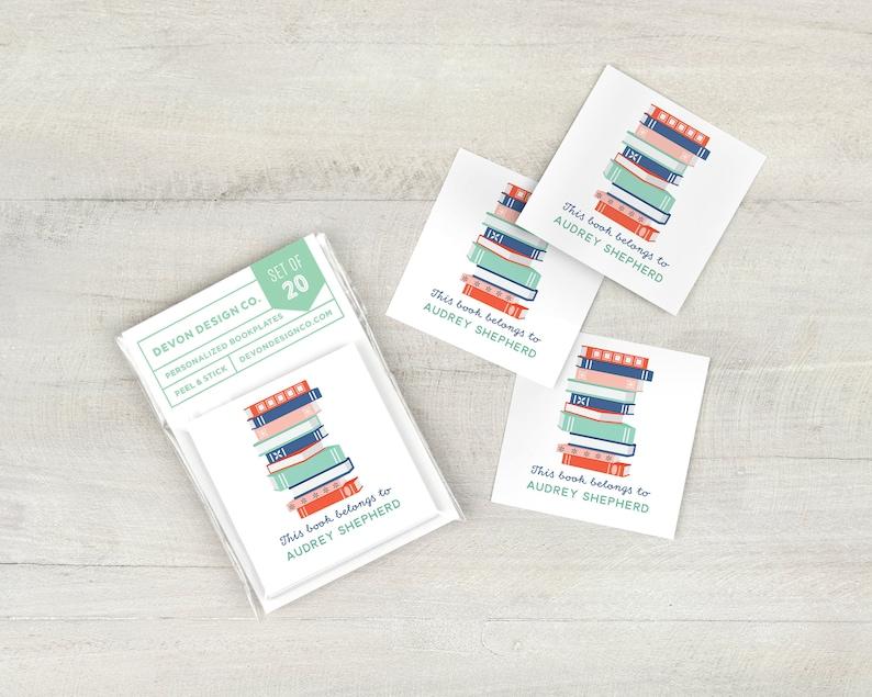personalized bookplates custom bookplate stickers set of 20 image 0