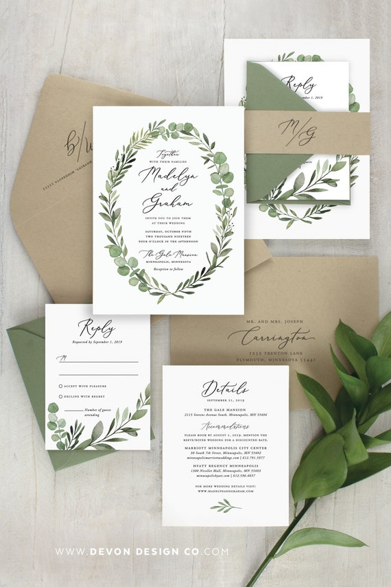 rustic wedding invitation, green botanical wedding invite, watercolor  eucalyptus, woodland wedding, natural kraft, printed invitations