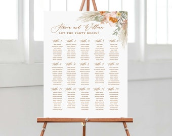 PRINTED wedding seating chart for boho wedding accented with sage, terracotta and pampas grass, wedding table seating chart on foam core