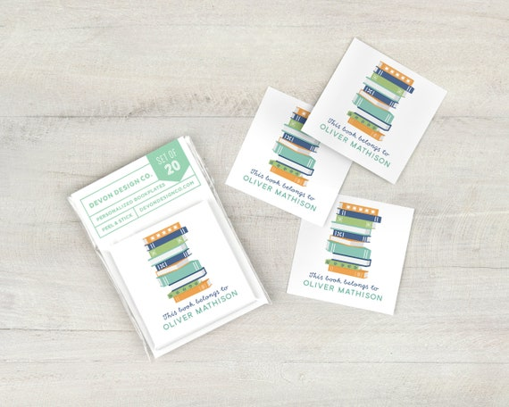 Personalized book labels custom bookplate stickers set of