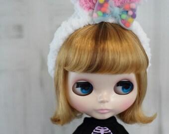 """Blythe Headband, Bunny Ears, White Rabbit Ears, Hair Accessory - 10-11"""" head - Doll Clothes"""