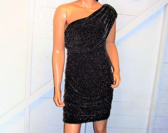 Black Metallic One Shoulder Dress S