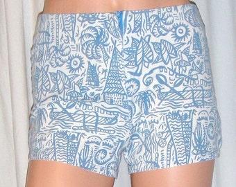 Vintage Esprit Blue White Hot Pants Shorts 3/4