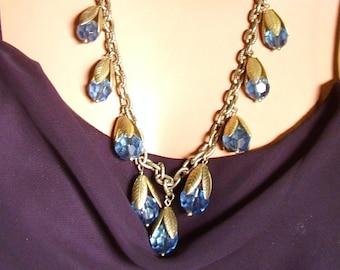 Sea Foam Blue Beads Gold Tone Leaf Chain Necklace