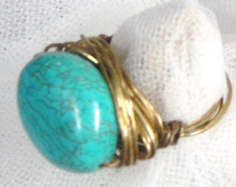 Gold Wire Turquoise Ring 7
