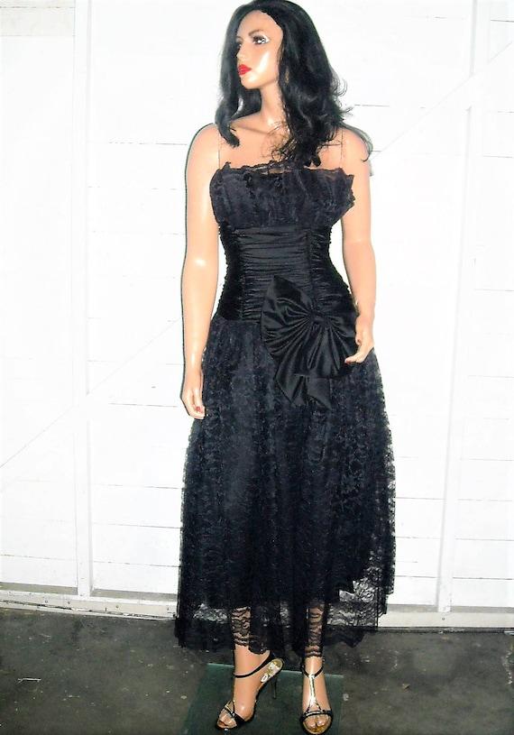 Vintage Scott Mcclintock Black Lace Goth Strapless Dress 6 Etsy