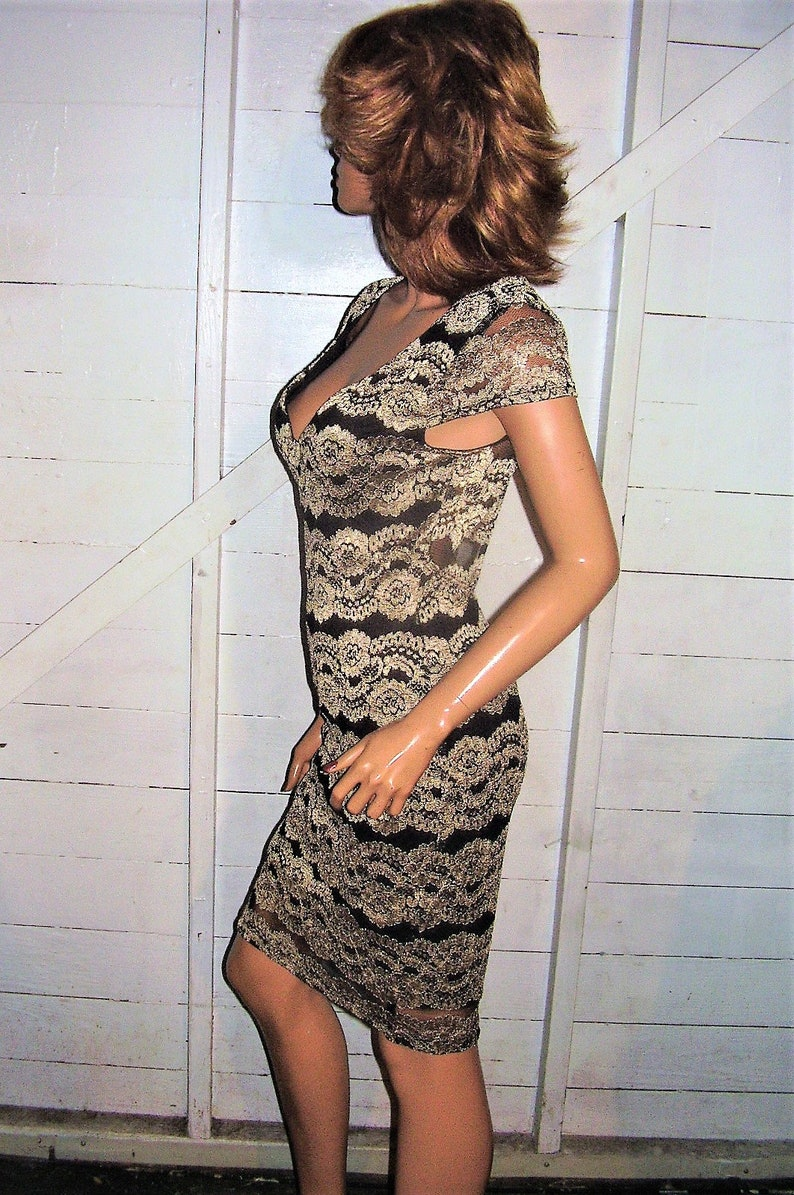 Gold Black Lace Dress L
