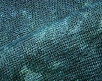 GALWAY Hand Dyed 30 count Cross Stitch Fabric, Teal Cross Stitch Evenweave Linen Fat Quarter, Teal Embroidery Linen