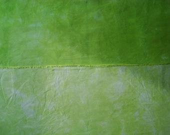 Fat Quarter Hand Dyed Silk Fabric, TENDRIL Yellow Green Hemp Silk Fabric for Doll Clothing, Quarter Yard, Pale/Medium