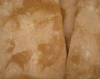 OCHRE Golden Brown Hand Dyed Fabric, 30 count Cross Stitch Linen, Fat Quarter, Even Weave Linen