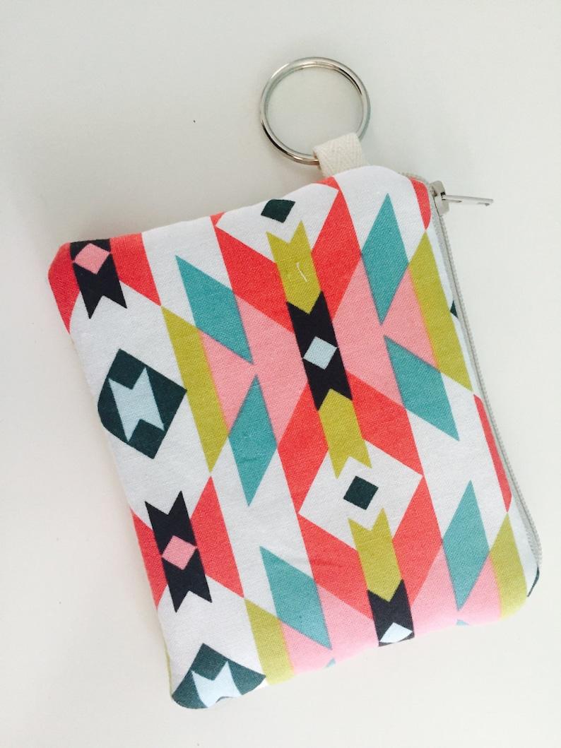 keychain purse credit card case Little zipper coun purse aztec pattern