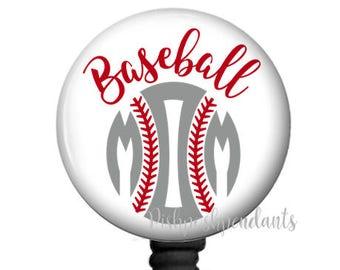 Retractable Badge Reel Holder Baseball Mom | Personalized ID Badge Reel Holder | ID Badge Tag | Nurse | Teacher | Student | Style 746