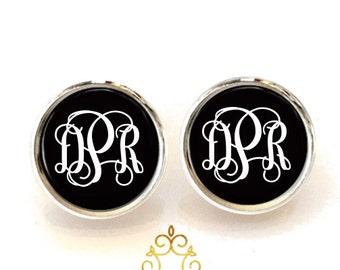 Black Monogram Studs, Monogram Earrings, Monogram Jewelry, Silver Earrings, Gold Earrings, Personalized, Gift for Her 449