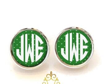 Monogram Earrings, Monogram Stud Earring Green Polka Dot (361)