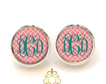 Quatrefoil Monogram Earrings, Personalized Earrings, Coral Stud Earrings, Monogram Jewelry (464)