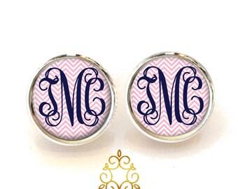 Pink Chevron Navy Monogram Earrings, Personalized Monogram Stud Earrings, Monogram Jewelry, Bridesmaid Jewelry (484)