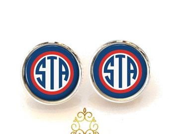 Red White and blue Monogram Earrings, Monogram Stud Earrings, Monogram Jewelry (411)