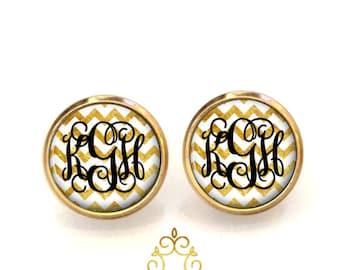 Gold Chevron Monogram Earrings, Personalized Monogram Stud Earrings, Monogram Jewelry, Style 778