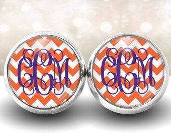 Orange Chevron Monogram Earrings, Monogram Studs, Personalized Jewelry, Personalized Earrings, Gift Under 10, Monogram Accessories (469)