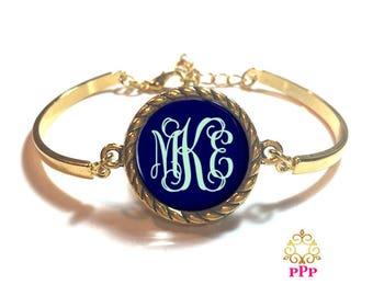 Navy Monogram Bangle Bracelet | Personalized Bracelet | Custom Bracelet | Style 645