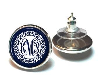 Monogram Earrings, Monogram Jewelry, Stud Earrings, Monogram Accessories, Personalized Jewelry, Navy Monogram Earrings - Style 631