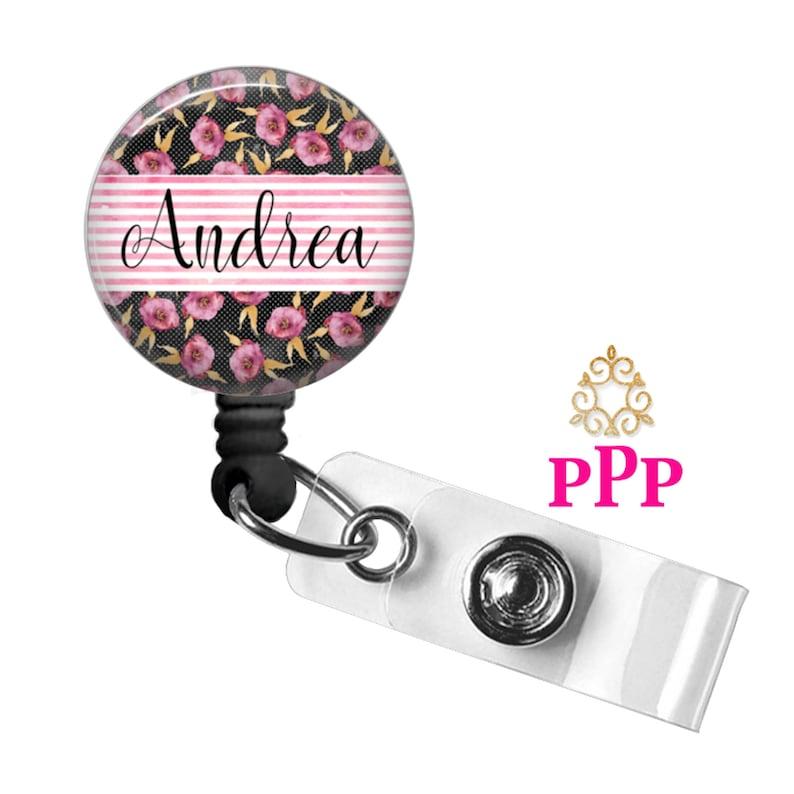 Personalized Badge Reel Holder Floral Stripe Retractable Carabiner or Lanyard  1079