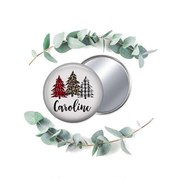 Pocket Mirror Stocking Stuffer Holiday Favor Ornament Personalized Christmas Favor or Gift Personalized Favors